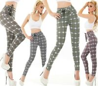 Women's Business Checked Trousers front pockets Contrast Tie Belt Office Pants