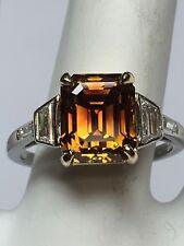 """Rare Estate Vintage Diamond Ring GIA 3.37ct Natural Deep """"Orange"""" Gem Stone Plat"""
