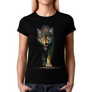 Velocitee Ladies T-Shirt Stalking Timber Native Wolf A22339