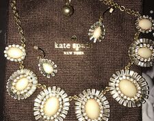 Kate Spade Crystal Gold Rhinestone & Ivory  Statement Necklace w/ earrings