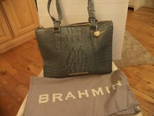 Brahmin Blue/Gray Leather Faux Croc Large Purse Tote With Dust Bag EXC