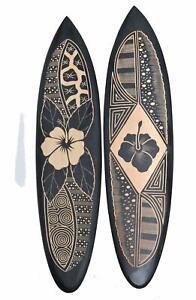 2 Deko Surfboards 100cm mit Hibiskus Blumen Motiv Hartholz Surfboard Surfbrett