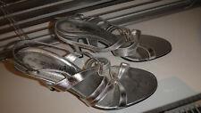 Italian Designer Zodiaco Leather Silver Strappy Heels Sandals Size UK 6 EU 39