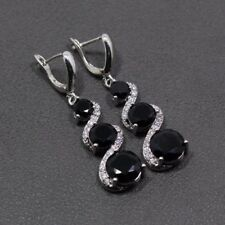 Beautiful Black Sapphire White Topaz Sterling Silver Drop Dangle Round Earrings