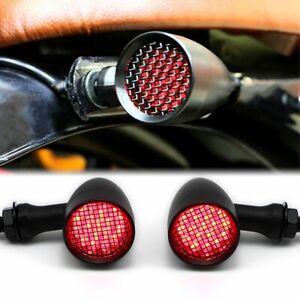 Universel Moto Rouge LED Bullet Clignotant Feu Arrière pour Harley Bobber Racer