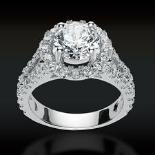 3.44 CT Round Cut Halo Lab Engagement Ring with Split Shank in 14K White Gold