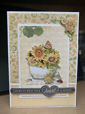 Handmade greeting Card Listen To Your Heart Thinking Of You Care 3-D