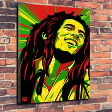 """Abstract Bob Marley Wall Art Printed Canvas Picture A1.30""""x20"""" 30mm Deep Music"""