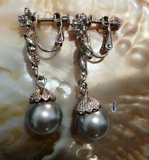 Fashion Women's 12MM Black Shell Pearl Dangle 14K GP Earrings AAA