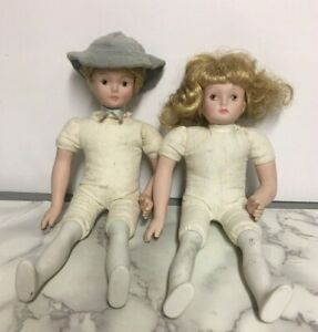 "Early 1900s French Porcelain & Soft Body 10""  Dolls by Migault & Papin  ""M.P."""