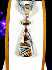 TSF DINE CALVIN BEGAY & L.L. STERLING TIGER EYE OPAL STONE STAINED GLASS PENDANT