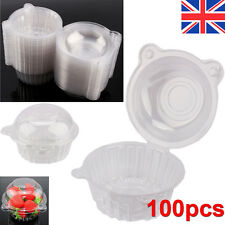 100 PC Clear Plastic Single Cupcake Muffin Party Case Pods Domes Boxes Holder UK