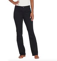 Susan Graver Petite Stretch Twill Mini Boot-Cut Pants - Black - Petite 14