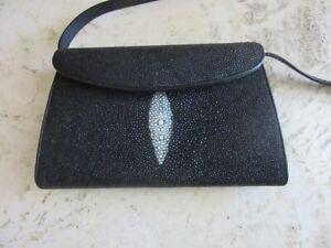 Black genuine Manta Ray Stingray exotic leather purse