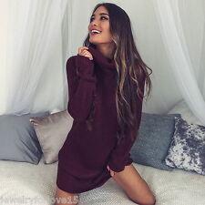 Damen Pullover Pulli Strick Kleid Sweatshirt Sweater Rollkragen Longshirt