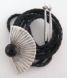 Large Sterling Silver & Black Onyx Radiant Sunburst Style Bolo Tie