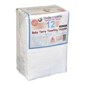 12 X PREMIUM  QUALITY BABY TERRY TOWELLING NAPPIES SUPER SOFT,100% COTTON