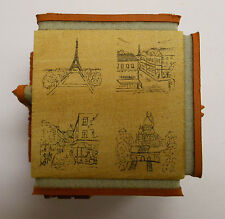 Paris 4 sided Cube Rubber Stamp by JudiKins