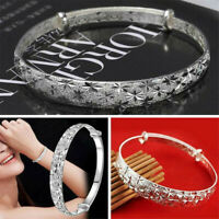Women 925 Silver Crystal Chain Bangle Cuff Elegant Bracelet Fashion Jewelry Gift