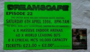 ESP Dreamscape 22 Rave Flyer & Very Rare A2 Poster, 6th April 1996, Somerset