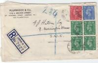 england 1947 registered  multi stamps cover ref r14552