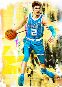 2021 Lamelo Ball Charlotte Hornets 2/25 Art ACEO Print Card By:Q