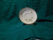 Limoges France China cup saucer, pink flowers with greenery, gold trim