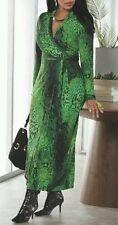 ASHRO ZAPARI FAUX WRAP DRESS SLINKY PLUS SIZE GREEN LEOPARD & SNAKE PRINT 24W !
