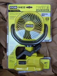 """Ryobi 18V 4"""" Inch Clamp Clip Fan Portable Tool Only PCF02 2 Speed No Battery New"""