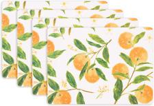 KAF Home Cork Placemats 16 x 12-Inch Set of 4 Chateau (Citrus Oranges Print)