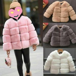 Toddlers Girls Kids Faux Fur Shawl Warm Overcoat Outerwear Coat Jacket furry