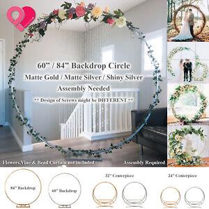 "Round Circle Wedding Arch Backdrop Gold Silver Wreath Ring Centerpiece 24""-84"""