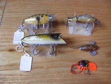 4 Vintage Fishing Lures True Temper Al Foss Heddon Millsite Various Colors