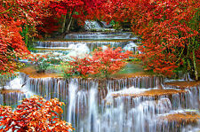 SUPERB JAPANESE GARDEN LANDSCAPE CANVAS #322 WATERFALL CANVAS WALL ART PICTURE