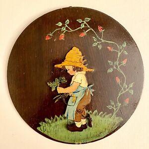 Märchen-Holzbild ALT 1950er 20cm Kleiner Rosen-Gärtner DDR Spielzeug Deko Figur