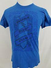 Da Hui Surf Club Blue Solid Graphic Short Sleeve Men T-Shirt Logo Sz Medium