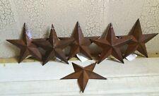"(Set of 6 ) RUSTY BLACK BARN STARS 5.5"" PRIMITIVE RUSTIC COUNTRY DECOR ANTIQUE"