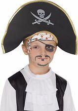 Kids Pirate Hat Black Skull Crossbones Costume Halloween Unisex Girls Boys Child