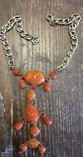 Vintage Gold Plate Orange Carved Lucite Drop Stations Red Crystal Chain Part