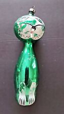 6 INCHES Large Green Whimsical Tiger Christmas Ornament from Czechoslovakia