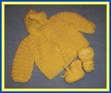 Yellow Hooded Hand-Crocheted Handmade 2-Piece Baby Sweater Set 0-6 mo