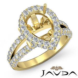 Pear Shape Semi Mount Diamond Engagement Halo Pave Ring 14k Yellow Gold 1.52Ct