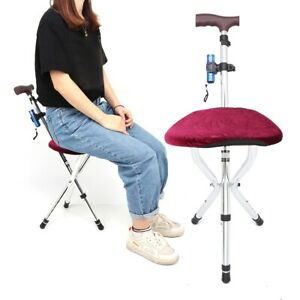 Portable Adjustable Folding Crutch Stool Walking Cane with Seat & Flashlight New