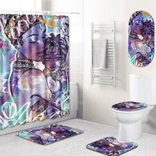 African Woman Bathroom Rugs Shower Mat Shower Curtain Bathmat Toilet Lid Cover