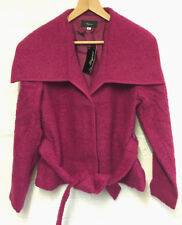 Ladies Jacket Size 18 Wool Blend Purple Pink Coat With Tie Waist