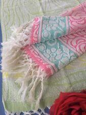 2 belles serviettes éponge anciennes 2 couleurs Linge de bain ancien 1673/94-1