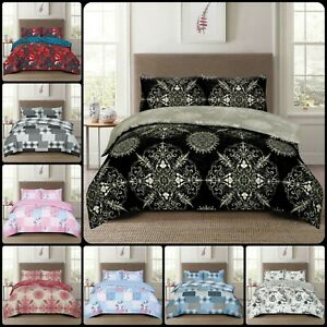 New 4pcs Duvet Cover Bedding Set With Pillowcases & Fitted Sheet in all Sizes