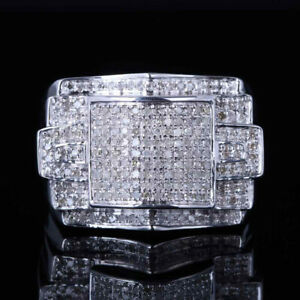 .80ct Top Mens Natural White Diamond Sterling Silver Plated White Gold Ring Bnad