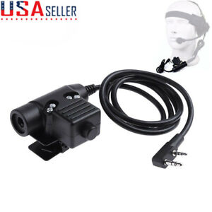 U94 PTT Tactical Military Headset Cable Adapter 2 Pin for BAOFENG UV5R/B6 Radio