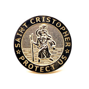 10K Solid Yellow Gold Saint Christopher Protect Us Mens Ring 7.5 Grams